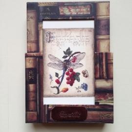 Handgemaakte bewaarbox, te gebruiken als fotolijst, met 10 kaarten met enveloppen