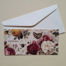 Postkaart met prachtig vintage rozen design, inclusief envelop. *** Uitverkocht ***