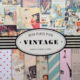 Grote set vintage papier en stickers; 14 vellen!