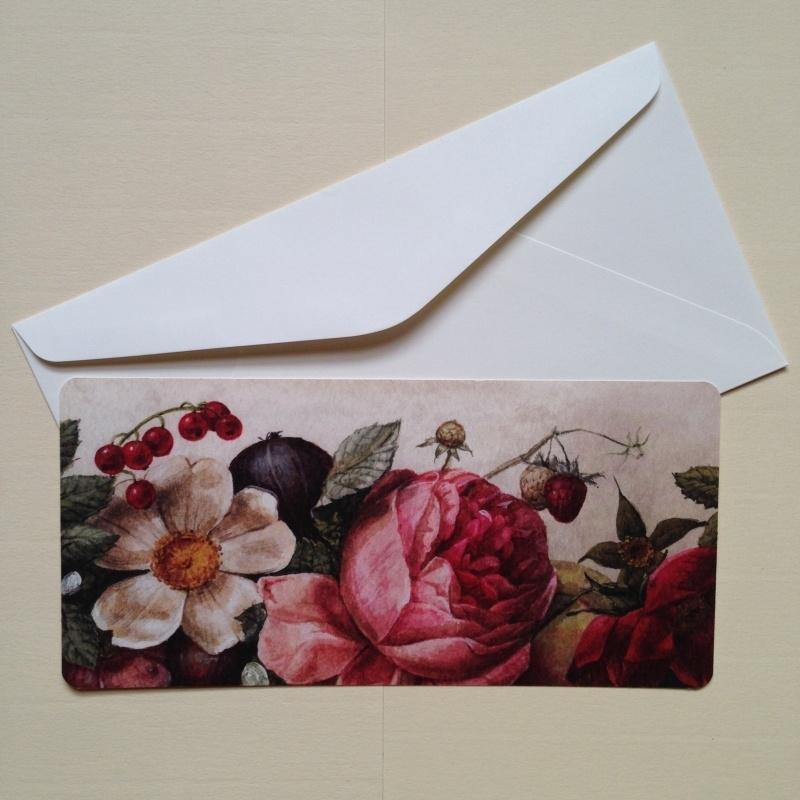 Postkaart met rijk bloemen design, inclusief envelop. *** Uitverkocht ***