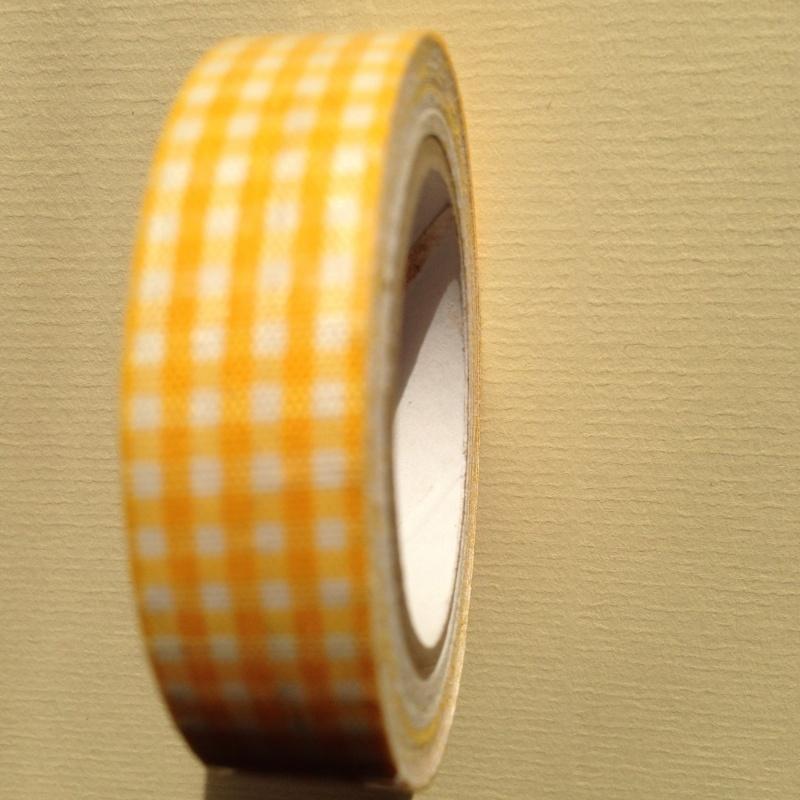 Textiel tape met ruiten.