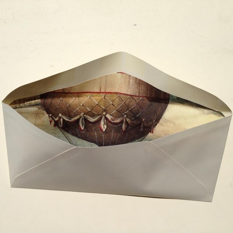 Envelop met prachtige binnenkant/ lining van vintage luchtballon tekeningen.