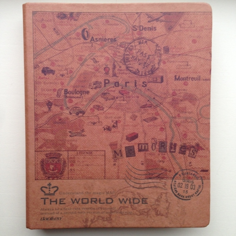 Kraft ringband met antieke kaart van Parijs, met inhoud