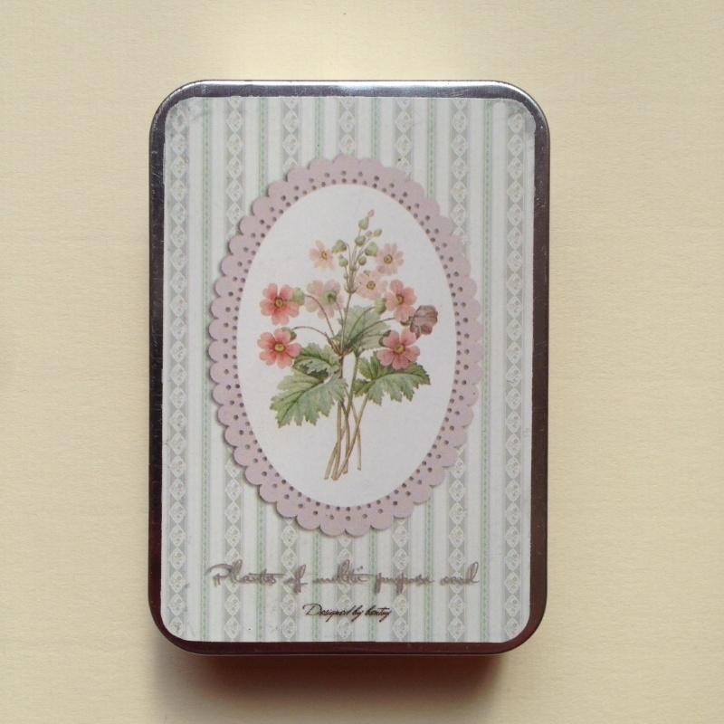 Vintage kaartjes met botanische tekeningen in prachtig bewaarblikje.