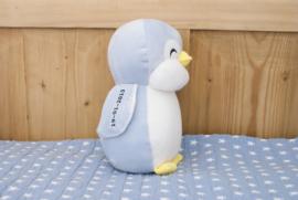 Knuffel Pinguin Blauw met naam en geboortedatum