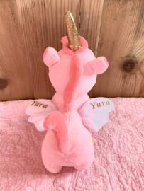 Knuffel Eenhoorn Roze met naam en geboortedatum