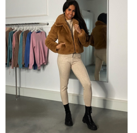 LUXURY FAUX FUR COAT SHORT CAMEL By Yessey