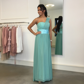 GREEN ONE SHOULDER MAXI DRESS By Yessey