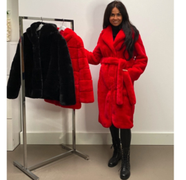 LUXURY FAUX FUR ROUND COAT RED  By Yessey