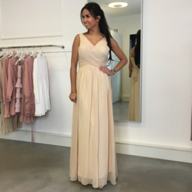 NUDE LACE UP MAXI DRESS By Yessey
