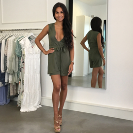 DEEP-V OLIVE PLAYSUIT By Yessey