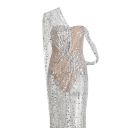 MAKING ENTRANCE SILVER DRESS By Yessey
