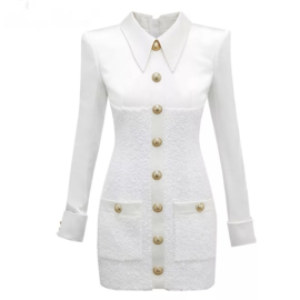 BUTTON TWEED WHITE DRESS By Yessey