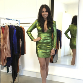 GREEN METALLIC  DRESS By Yessey