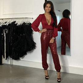 BURGUNDY SEQUIN PANTS By Yessey