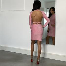 OPEN BACK PINK GLITTER DRESS By Yessey