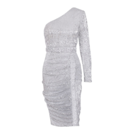 SHINE BRIGHT SILVER SEQUIN DRESS By Yessey
