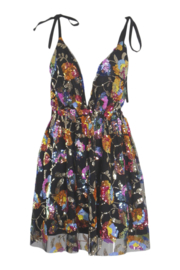 COLOR BOMB BLACK DEEP-V DRESS By Yessey