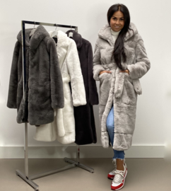 LUXURY FAUX FUR COAT MAXI HOODIE By Yessey