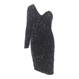 ONE SLEEVE BLACK SEQUIN DRESS By Yessey