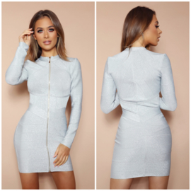 TITANIA SILVER BANDAGE DRESS By Yessey