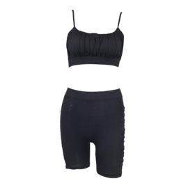 SHINY BLACK COMFY SET  By Yessey