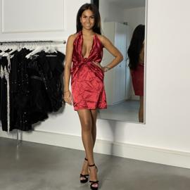 RED SHINY V DRESS  By Yessey