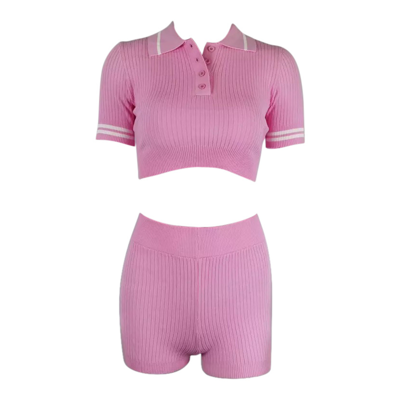 POLO RIBBED PINK COMFY SET  By Yessey