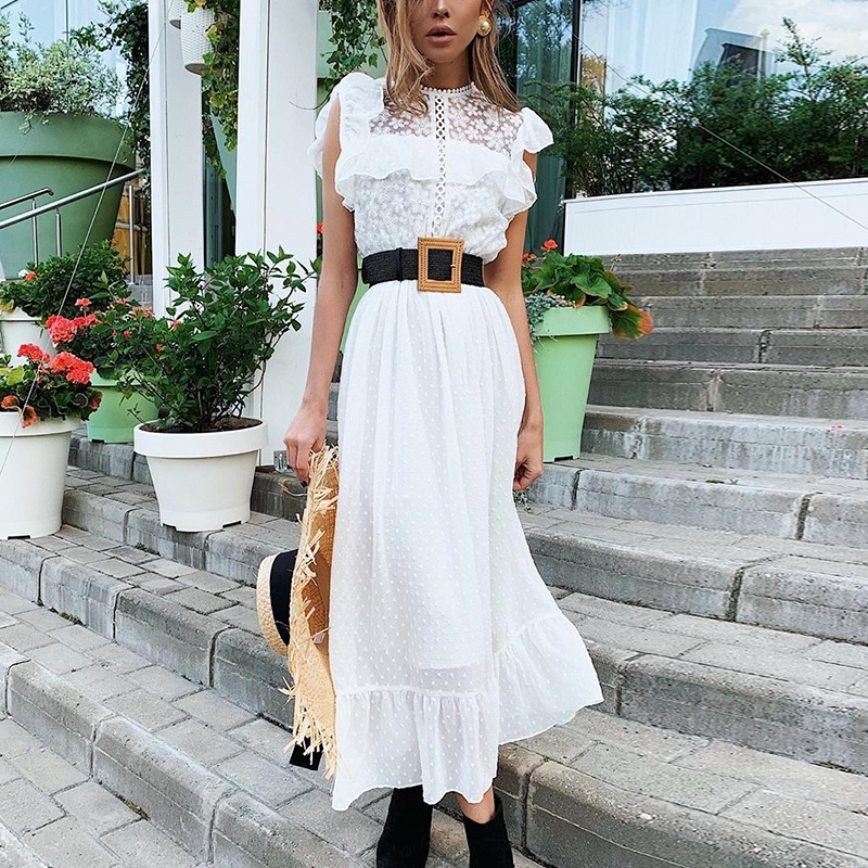 WHITE WITH A TOUCH OF LACE MAXI DRESS By Yessey
