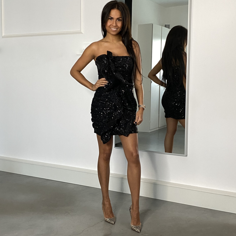 BLACK STRAPLESS SEQUIN DRESS By Yessey