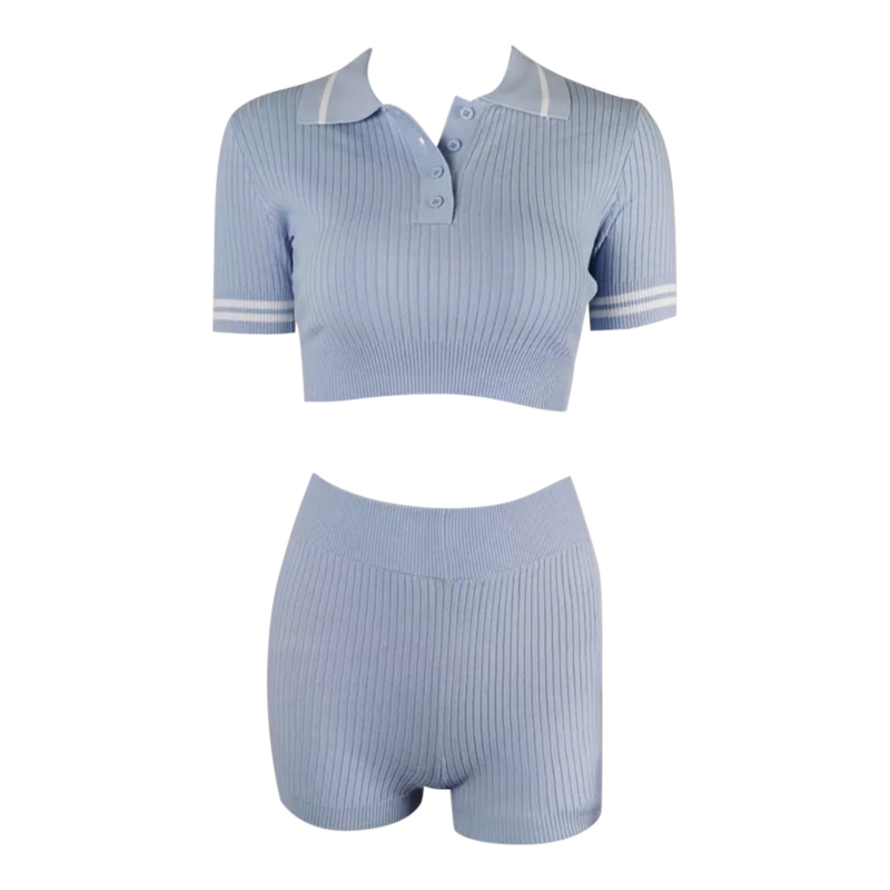 POLO RIBBED BLUE COMFY SET  By Yessey