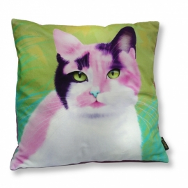 Cat throw pillow MAYSA Pink green velvet cushion cover