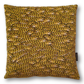 Sofa pillow Mustard velvet cushion cover CATERPILLOW COMMON SWALLOWTAIL