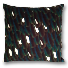 Sofa pillow Black velvet cushion cover MAGPIE FEATHERS
