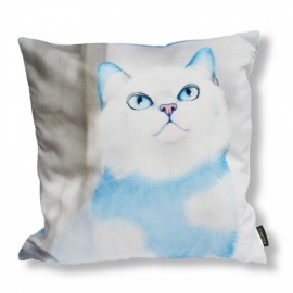 Cat throw pillow ADONIS Blue white velvet cushion cover
