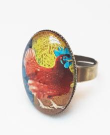 Cabochon ring bird BLUE COMB