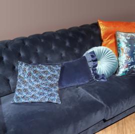 Sofa pillow Darkblue velvet cushion cover STARRY NIGHT BUTTERFLY