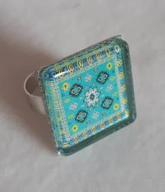 Cabochon ring TEAL aqua