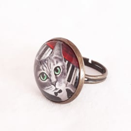 Cabochon ring cat NORA