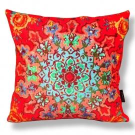 Sofa pillow Red velvet cushion cover CORN ROSE