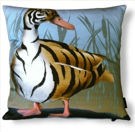 Bird cushion TIGER DUCK cotton/velvet pillow cover