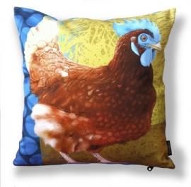 Bird cushion BLUE COMB cotton/velvet pillow cover