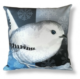 Bird cushion SNOW WREN cotton/velvet pillow cover