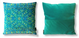 Turquoise fluwelen kussenhoes BLUE HAWAII