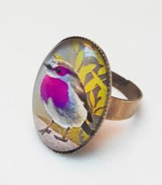 Cabochon ring bird PURPLETHROAT