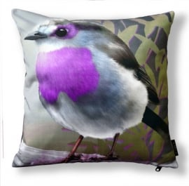 Bird cushion PURPLETHROAT cotton pillow cover