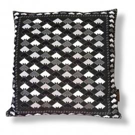 Sierkussen Zwart-grijs-wit fluwelen kussenhoes MOZAÏEK