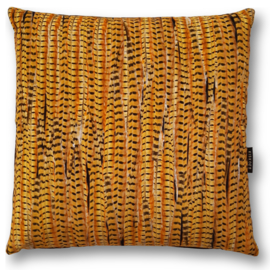 Sofa pillow  Cognac velvet cushion cover PHEASANT FEATHERS