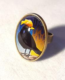 Cabochon ring bird YELLOW-CRESTED BLACKBIRD