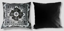 Sofa pillow Black-grey-white velvet cushion cover BLACK MARBLE